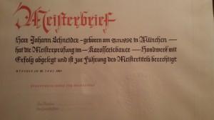 Meisterbrief Johann Schneider in 1957