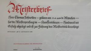 Thomas Schneider Meisterbrief