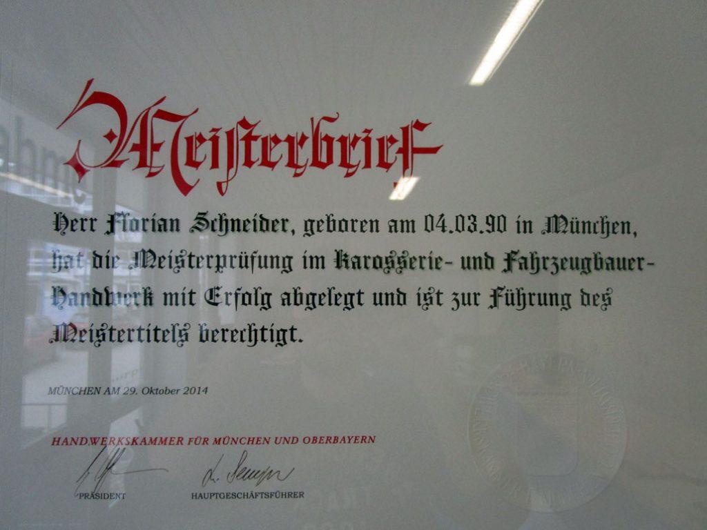 Meisterbrief Florian Schneider
